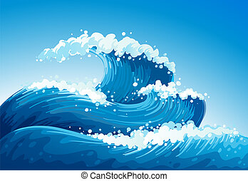 A sea with giant waves - Illustration of a sea with giant...