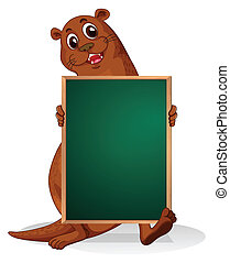 A sealion holding an empty blackboard