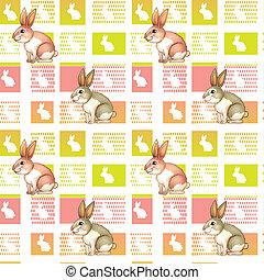 A seamless design with bunnies