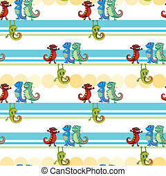 A seamless design with lizards