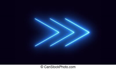 A seamless looping animation of neon arrows appearing and ...
