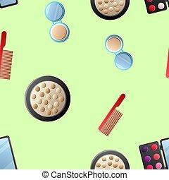 A seamless pattern of cosmetics with lipstick, nail polish, mascara, hairbrush, face cream, eye shadow, perfume, hair dryer