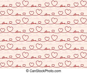 Seamless red background with hearts.