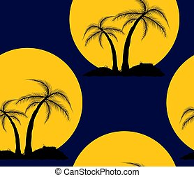 A seamless repeating pattern of silhouettes of palm trees on a background of the sun.Vector