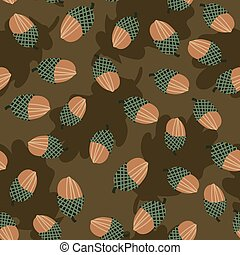 seamless vector pattern with acorns scattereed on a brown background