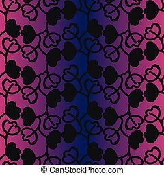 seamless vector pattern with black botanical ornament on a violet gradient background
