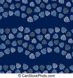 seamless vector pattern with blue leaves forming wavy stripes on dark background