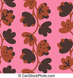 seamless vector pattern with brown leaves and florals on a pink background