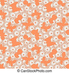 seamless vector pattern with butterflies flying over daisies