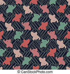 seamless vector pattern with colorful baby elephants on a dark textured background