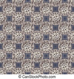 seamless vector pattern with floral decorated porcelain tiles mosaic in muted grey blue and brown