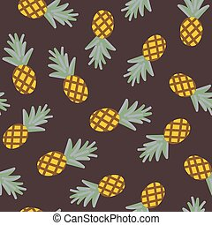 seamless vector pattern with scattered pineapples on a brown background