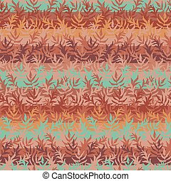 seamless vector striped pattern background with leaves in copper colors