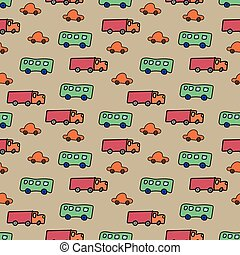 seamless vector transportation themed vetor pattern with trucks cars and buses