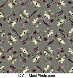 seamless vector vintage floral pattern in muted greyish colors