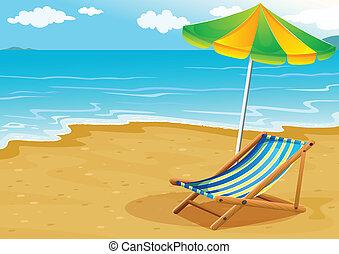 A seashore with a bench and an umbrella