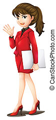 A secretary wearing a red uniform