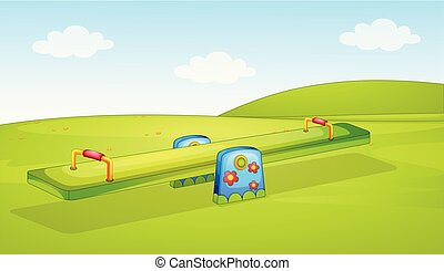 A seesaw playground background