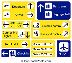 Airport signs - A selection of Airport signs. EPS10 vector ...