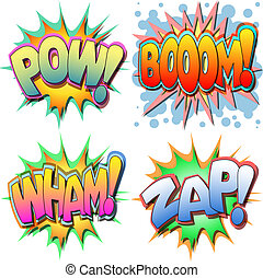 A Selection of Comic Book Illustrations Pow, Boom, Wham, Zap