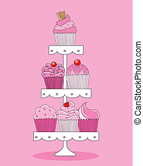 A selection of delicious cupcakes and muffins presented on ...