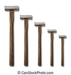 A selection of precision carpentry hammers on a white backdrop