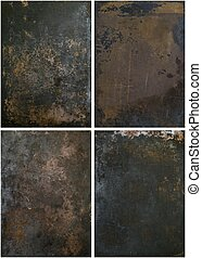 A selection of rusty grunge metal backgrounds