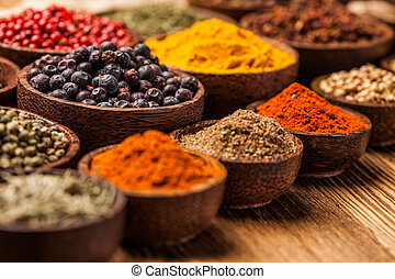 A selection of spices - A selection of various colorful ...