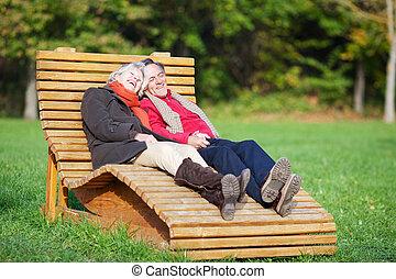 A senior couple enjoying a funny moment