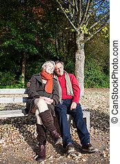 A senior couple enjoying the sun