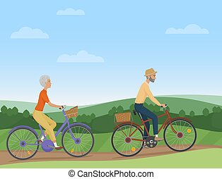 A senior couple riding the bikes in the countryside. Old people cyclists. Vector illustration.