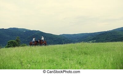 A senior couple sitting on horses on a meadow, talking.
