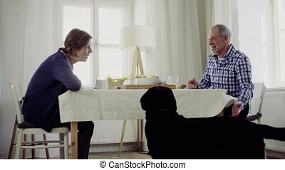 A senior couple with a pet dog sitting at the table at home,...