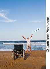 miraculous recovery from illness - a senior man throwing his...