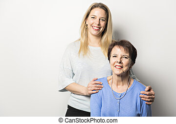 A Senior mother with 40 years old daughter