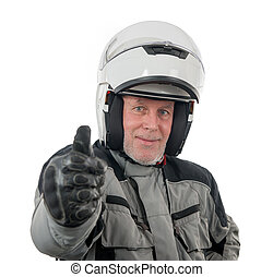 senior rider with white helmet isolated on the white background