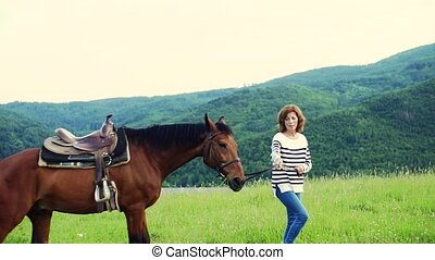 A senior woman holding a horse grazing on a pasture. - A...