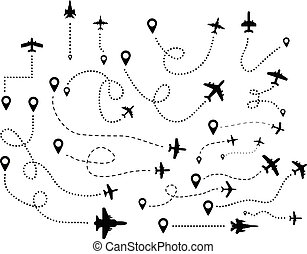 A series of flying airplanes and their flight paths from the departure point. Vector ilustration