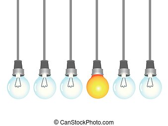 A series of light bulbs with one of them light up. Concept...