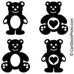 a series of teddy plush shadow
