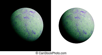 A series of unknown planets on an isolated background.