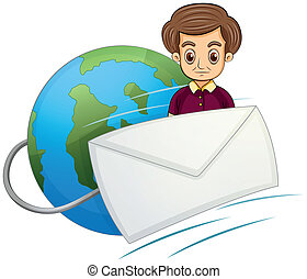 A serious gentleman in the middle of the globe and the envelope