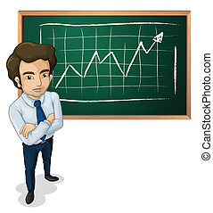 A serious man in front of the board - Illustration of a...