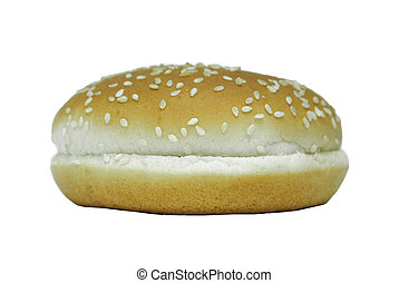 A sesame bun on white background