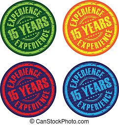 a set of 15 years experience stamps