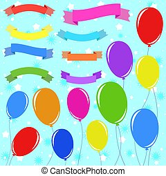 A set of 8 flat colored insulated banner ribbons and 11 balloons on ropes. On a blue background with stars. Suitable for design.