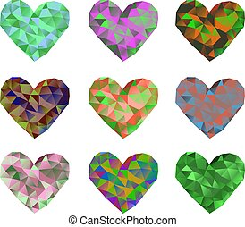 A set of 9 multi-colored polygonal hearts. Vector illustration on isolated background