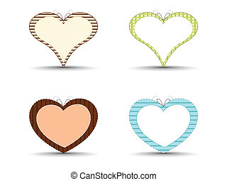 A set of abstract colorful heart shapes on isolated background for Valentines Day.