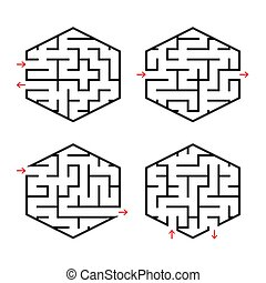 A set of abstract labyrinths for children. Simple flat vector illustration isolated on white background.