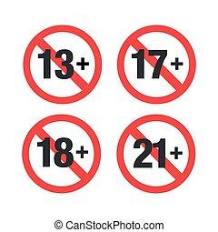 A set of Age restriction. Vector Illustration